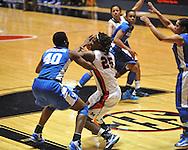 """Ole Miss' Courtney Marbra (25) vs. Kentucky's Brittany Henderson (40) in women's college basketball at the C.M. """"Tad"""" Smith Coliseum in Oxford, Miss. on Thursday, February 28, 2013. Kentucky won 90-65."""