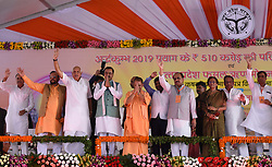 September 6, 2017 - Allahabad, Uttar Pradesh, India - Uttar Pradesh Chief minister Aditya Nath yogi along with deputy chief minster Keshaw Prasad Maurya, BJP national secretary and health minister Siddharth nath singh, Agriculture minister Surya Pratap Sahi, Rural Development minister Suresh Khanna, cabinet minister Reeta Bahuna josh and other minister and BJP leaders wave peoples during inaugurating various schemes for Ardh kumbh-2019 at Parade ground in Allahabad. (Credit Image: © Prabhat Kumar Verma/Pacific Press via ZUMA Wire)