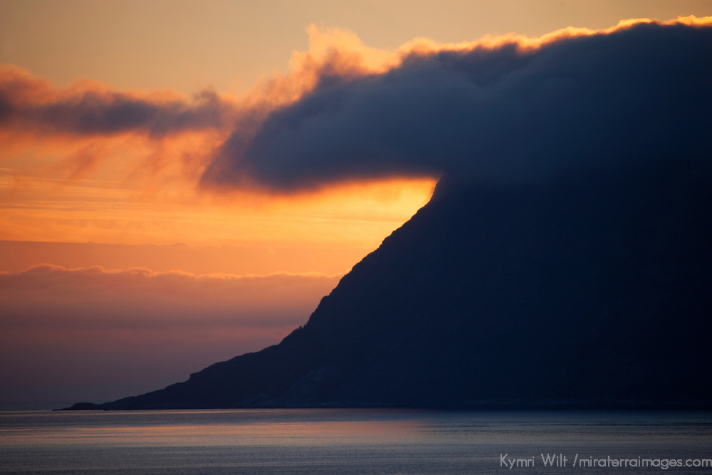 Europe, Norway, Alesund. Sunrise marks dramatic coastline near Alesund.