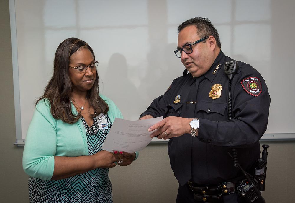 Police Chief Cordova sworn in May 7, 2018.