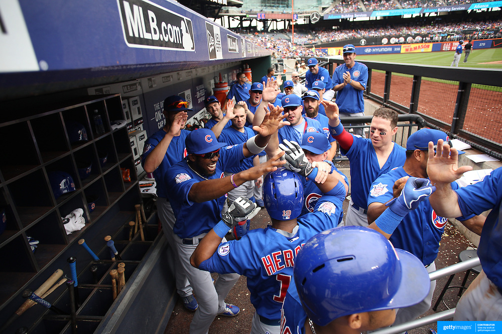 Jonathan Herrera, Chicago Cubs, is congratulated by teammates as he returns to the dug out after his two run home run during the New York Mets Vs Chicago Cubs MLB regular season baseball game at Citi Field, Queens, New York. USA. 2nd July 2015. Photo Tim Clayton