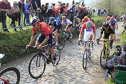The peloton including Mathieu Van Der Poel (NED) Corendon-Circus climb the Koppenberg during the 2019 Ronde Van Vlaanderen 270km from Antwerp to Oudenaarde, Belgium. 7th April 2019.<br /> Picture: Eoin Clarke | Cyclefile<br /> <br /> All photos usage must carry mandatory copyright credit (© Cyclefile | Eoin Clarke)