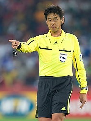 Referee Yuichi Nishimura (JPN) during the 2010 FIFA World Cup South Africa Group H Second Round match between Spain and Honduras on June 21, 2010 at Ellis Park Stadium, Johannesburg, South Africa.  Spain defeated Honduras 2-0. (Photo by Vid Ponikvar / Sportida)