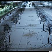 Nella foto il Lingotto.. Turin under snow, Torino sotto la neve.