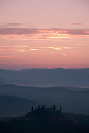 A view of 'Belvedere' at sunrise in the Val d'Orcia, Tuscany, Italy