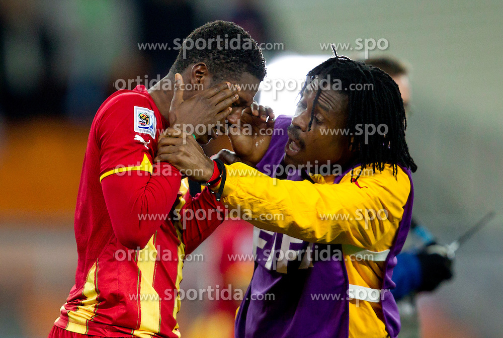 Disappointed Asamoah Gyan of Ghana after penalty shots at the 2010 FIFA World Cup South Africa Quarter Finals football match between Uruguay and Ghana on July 02, 2010 at Soccer City Stadium in Sowetto, suburb of Johannesburg. (Photo by Vid Ponikvar / Sportida)