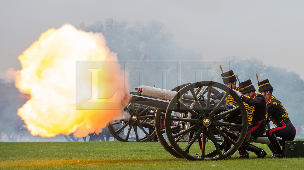 © Licensed to London News Pictures. 22/04/2019. LONDON, UK.  Members of the King's Troop Royal Horse Artillery take part in a 41 gun salute in Hyde Park to mark the 93rd birthday of Her Majesty The Queen.  Six First Wold War-era 13-pounder Field Guns are used to fire blank artillery rounds..  Photo credit: Stephen Chung/LNP
