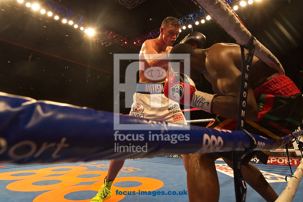 Callum Smith (white shorts) v Vladine Biosse<br /> (black shorts) during their WBC International Super-Middleweight Championship bout at Echo Arena, Liverpool<br /> Picture by Ian Wadkins/Focus Images Ltd +44 7877 568959<br /> 12/07/2014