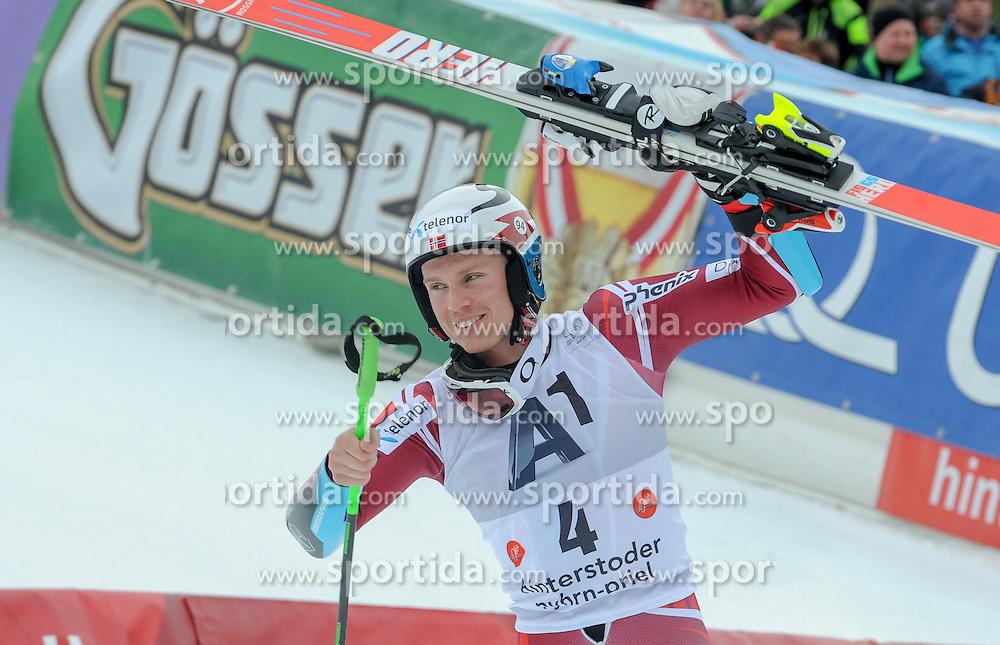 28.02.2016, Hannes Trinkl Rennstrecke, Hinterstoder, AUT, FIS Weltcup Ski Alpin, Hinterstoder, Riesenslalom, Herren, 2. Lauf, im Bild Henrik Kristoffersen (NOR) 3.Platz // Henrik Kristoffersen of Norway(third place) reacts after his 2nd run of men's Giant Slalom of Hinterstoder FIS Ski Alpine World Cup at the Hannes Trinkl Rennstrecke in Hinterstoder, Austria on 2016/02/28. EXPA Pictures © 2016, PhotoCredit: EXPA/ Erich Spiess