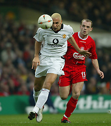 CARDIFF, WALES - Sunday, March 2, 2003: Liverpool's Danny Murphy  and Manchester United's Rio Ferdinand during the Football League Cup Final at the Millennium Stadium. (Pic by David Rawcliffe/Propaganda)