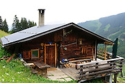 Wooden mountain cabin in the Austrian Alps