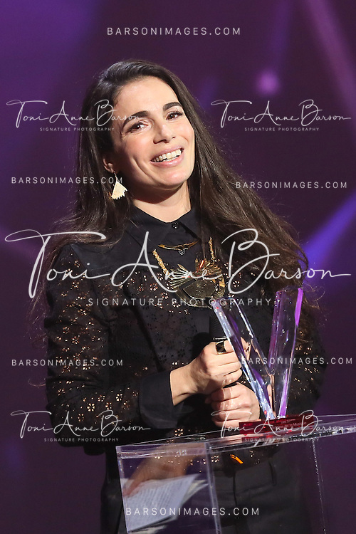 "PARIS, FRANCE - FEBRUARY 12:  Yael Naim receive award during ""Les Victoires De La Musique"" at Le Zenith on February 12, 2016 in Paris, France.  (Photo by Tony Barson/FilmMagic)"