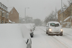 Commuters struggle to get to work as heavy overnight snow causes disruption in rural Wiltshire, Corsham, UK, January 18 2013 Photo by Mark Chappell / i-Images.