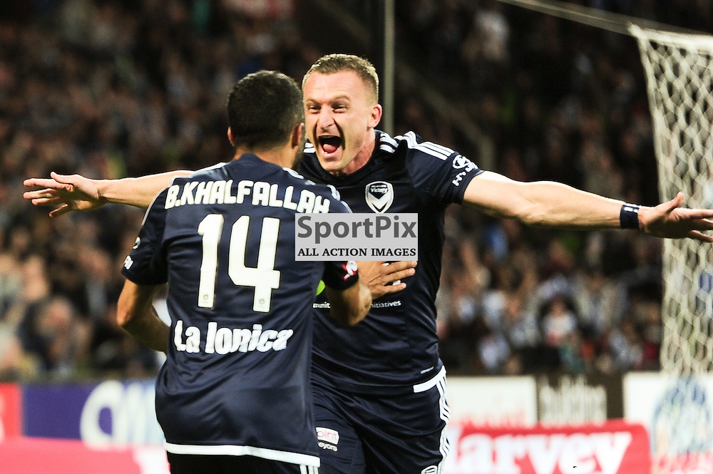 Besart Berisha of Melbourne Victory celebrates scoring the deciding goal of with Fahid Ben Khalfallah in the Hyundai A-League, January 15th 2016, RD15 match between Melbourne Victory FC v Brisbane Roar  FC in a 4:0 win to Victory in a comfortable win over Roar at Aami Park,  Melbourne, Australia. © Mark Avellino | SportPix.org.uk