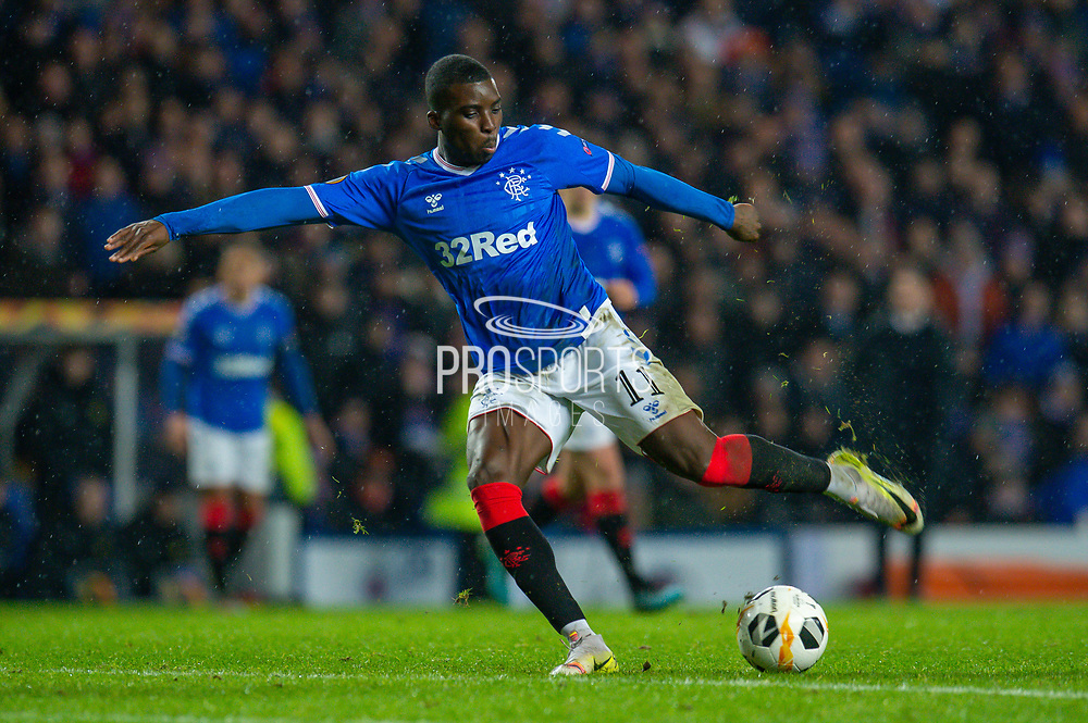 Sheyi Ojo (#11) of Rangers FC shoots for goal during the Europa League Group G match between Rangers FC and BSC Young Boys at Ibrox Park, Glasgow, Scotland on 12 December 2019.