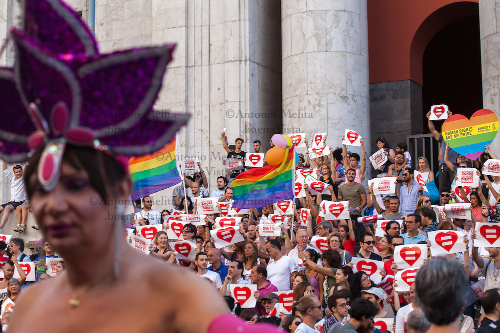 LGBT supporters marched en masse through the streets of Palermo, the city became colorful and well attended Palermo Pride 2015 parade. The parade featured music and performances, bringing colour to the historic city.