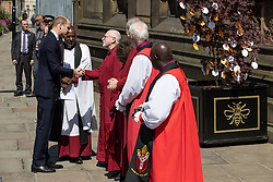 © Licensed to London News Pictures . 22/05/2018 . Manchester , UK . PRINCE WILLIAM is greeted by dignitaries , including Bishop DAVID WALKER  JOHN SENTAMU, SIR RICHARD LEESE and ANDY BURNHAM (shaking hands), at Manchester Cathedral ahead of a Service of Remembrance on the first anniversary of the Manchester Arena bombing . On the evening of 22nd May 2017 , Salman Abedi murdered 22 people and seriously injured dozens more , when he exploded a bomb in the  foyer of the Manchester Arena as concert-goers were leaving an Ariana Grande gig . Photo credit : Joel Goodman/LNP