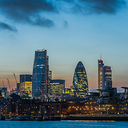 New skyscrapers of the City of London at sunset 2014