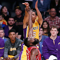 26 October 2016: Los Angeles Lakers guard Jordan Clarkson (6) takes a jump shot over Houston Rockets guard James Harden (13) during the Los Angeles Lakers 120-114 victory over the Houston Rockets, at the Staples Center, Los Angeles, California, USA.