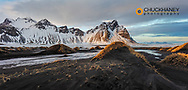 Vestrahorn Mountain in winter near Hofn, Iceland
