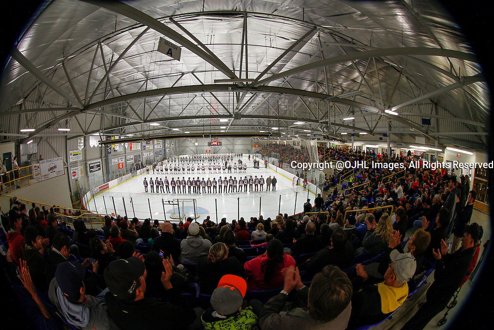 FORT FRANCES, ON - Apr 28, 2015 : Central Canadian Junior &quot;A&quot; Championship, game action between the Toronto Patriots and the Fort Frances Lakers, game two of the Dudley Hewitt Cup.<br /> (Photo by Brian Watts / OJHL Images)