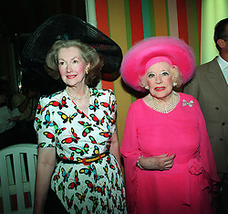Dame Barbara Cartland (right) with her daugther, La Comtesse Jean Francoise De Chambrun (formerly Raine Spencer), at London's Berkeley Hotel at a belated 93rd birthday party for the novelist.