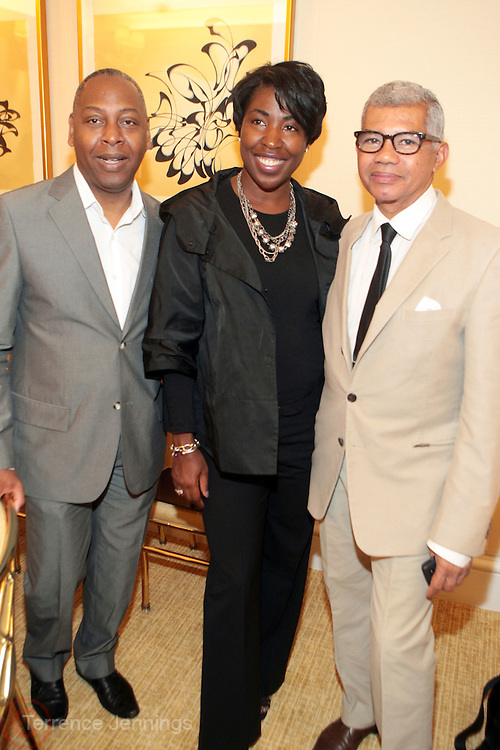 15 September 2010-New York, NY- l to r: Gary Lamply, President, B.R.A.G, Shawn Outler, B.R.A.G. and Freddie Leiba at The LeQuan Smith 2011 Spring/Summer Fashion Show held at The Pennisula Hotel on September 15, 2010 in New York City. ..LaQuan Smith has designed custom fashions for artists including Lady Gaga, Rihanna, Aubrey O'day, Amerie and more. Smith's New York Fashion Week debut was held on February 15, 2010 and he has been featured in many media outlets including The New York Times, New York Daily News and Studio Magazine.