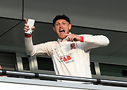 Jamie Porter of Essex dances on the team balony as he celebrates the team winning the County Championship during the Specsavers County Champ Div 1 match between Somerset County Cricket Club and Essex County Cricket Club at the Cooper Associates County Ground, Taunton, United Kingdom on 26 September 2019.