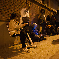 Terrassa, Catalonia, Spain. Saturday, 01 October 2017. Catalan referendum. Setting up the polling stations and first voters.SpainParents and families are doing many kinds of activities at tomorrows Catalan referendum polling stations. Activists and families had spend the night inside their assigned polling stations as a measure to try to avoid the closure of the schools by the police.  Terrassa, Catalonia. Spain