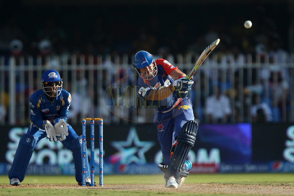 Kevin Pietersen captain of of the Delhi Daredevils during match 16 of the Pepsi Indian Premier League 2014 between the Delhi Daredevils and the Mumbai Indians held at the Sharjah Cricket Stadium, Sharjah, United Arab Emirates on the 27th April 2014<br /> <br /> Photo by Ron Gaunt / IPL / SPORTZPICS