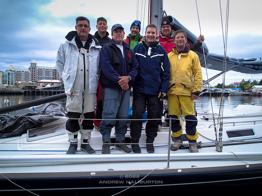 Finish. J/46 Riva. 1st in Division, 3rd in Class, 7th in Race.  Scott Campbell, Charles Rice, Dave Moran, Dennis Hollingshead, Andrew Haliburton, Nelson Rolens, Blain Goold.  2014 Swiftsure International Yacht Race, Victoria, British Columbia, Canada.  Olympus Tough TG-1.