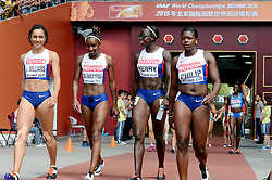 29-08-2015 CHN: IAAF World Championships Athletics day 7, Beijing<br /> Asha PHILIP, Jodie WILLIAMS, Bianca WILLIAMS and Desiree HENRY GBR Photo by Ronald Hoogendoorn / Sportida