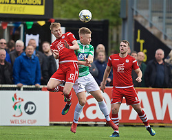 RHOSYMEDRE, WALES - Sunday, May 5, 2019: Connah's Quay Nomads' Declan Poole (L) and The New Saints' Jack Bodenham challenge for a header during the FAW JD Welsh Cup Final between Connah's Quay Nomads FC and The New Saints FC at The Rock. (Pic by David Rawcliffe/Propaganda)