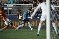 September 23, 2017 - East Hartford, Connecticut, U.S - New York City FC midfielder JACK HARRISON (11) crosses the ball infant of Houston Dynamo goalkeeper TYLER DERIC (1) during a game at Pratt & Whitney Stadium at Rentschler Field, East Hartford, CT.  New York City FC draw with the Houston Dynamo 1 to 1 (Credit Image: © Mark Smith via ZUMA Wire)