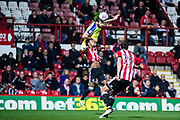Brentford (3) Rico Henry, Brentford (29) Yoann Barbet  during the EFL Sky Bet Championship match between Brentford and Derby County at Griffin Park, London, England on 26 September 2017. Photo by Sebastian Frej.