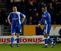 Photo: Jed Wee.<br />Hull City v Cardiff City. Coca Cola Championship.<br />03/12/2005.<br />Cardiff's Neil Cox (L) conducts an inquest with Jeff Whitley after they concde the opening goal.