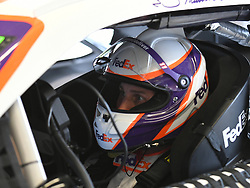 February 23, 2019 - Hampton, GA, U.S. - HAMPTON, GA - FEBRUARY 23: Denny Hamlin, Joe Gibbs Racing, Toyota Camry FedEx Ground (11) sit in his car during practice for the Monster Energy Cup Series QuikTrip Folds of Honor 500 on February 23, 2019, at Atlanta Motor Speedway in Hampton, GA.(Photo by Jeffrey Vest/Icon Sportswire) (Credit Image: © Jeffrey Vest/Icon SMI via ZUMA Press)