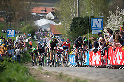 Dani King (GBR) of Cylance Pro Cycling and Claudia Lichtenberg (GER) of Wiggle Hi5 Cycling Team hit the mid-section of the Paterberg during the Ronde Van Vlaanderen - a 153.2 km road race, starting and finishing in Oudenaarde on April 2, 2017, in East Flanders, Belgium.