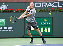 March 10, 2019 - Indian Wells, CA, U.S. - INDIAN WELLS, CA - MARCH 10: Adrian Mannarino (FRA) returns the ball in the second set of a match played at the BNP Paribas Open on March 10, 2019 at the Indian Wells Tennis Garden in Indian Wells, CA. (Photo by John Cordes/Icon Sportswire) (Credit Image: © John Cordes/Icon SMI via ZUMA Press)