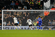 GOAL 1-0 Fulham striker Aleksandar Mitrovic (9) and Fulham striker Luciano Vietto (19) celebrate as Fulham striker Aboubakar Kamara (47) scores Fulham's opener during the Premier League match between Fulham and Leicester City at Craven Cottage, London, England on 5 December 2018.