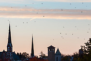 Middletown, New York - Middletown church steeples at sunset on Oct.29, 2015.