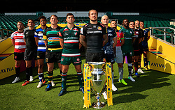 (From left to right) Gloucester Rugby's Ross Moriarty, Newcastle Falcons' Toby Flood, Bath Rugby's Anthony Watson, Northampton Saints' Dylan Hartley, Leicester Tigers' Ben Youngs, Exeter Chiefs' Jack Nowell, Sale Sharks' James O'Connor, Harlequins' Danny Care, London Irish's Topsy Ojo, Saracens' Jamie George, Wasps' James Haskell and Worcester Warriors' Doncha O'Callaghan during the Aviva Premiership season launch at Twickenham Stadium, London.