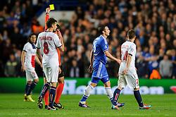 Chelsea Midfielder Frank Lampard (ENG) is shown a yellow card by referee Pedro Proenca (POR) - Photo mandatory by-line: Rogan Thomson/JMP - 07966 386802 - 08/04/2014 - SPORT - FOOTBALL - Stamford Bridge, London - Chelsea v Paris Saint-Germain - UEFA Champions League Quarter-Final Second Leg.