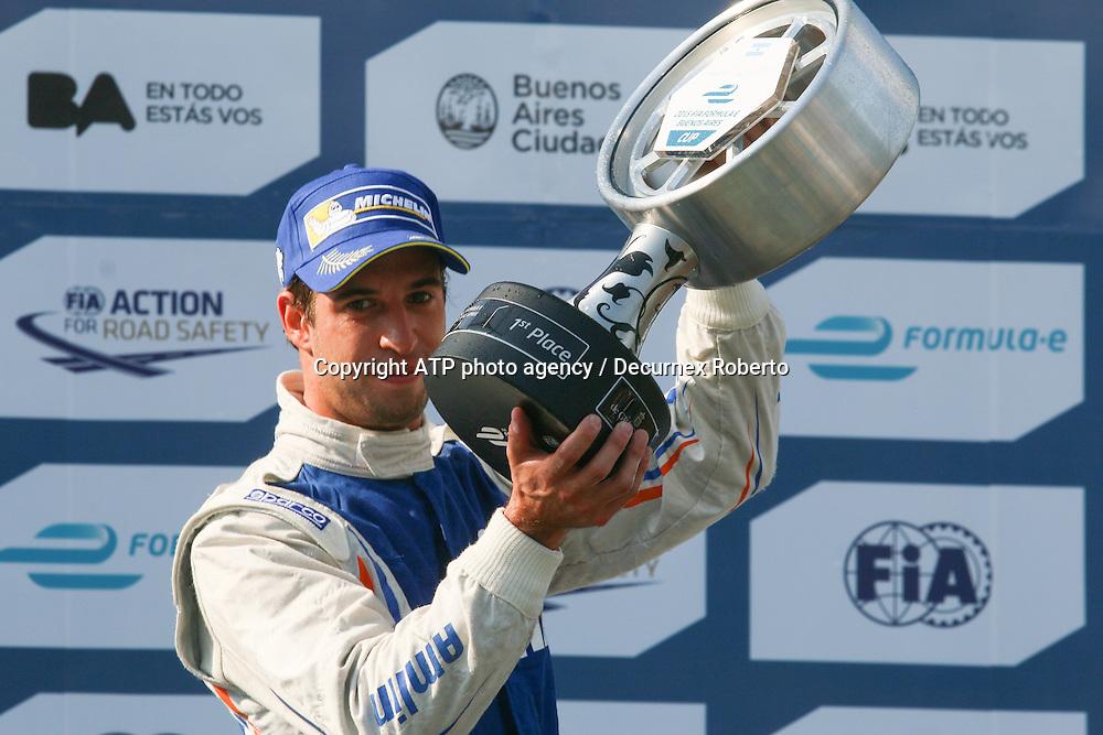 race winner Antonio Felix da Costa, (POR), Amlin Aguri - Podium with trophy  <br /> Buenos Aires; January 10th 2015, E-Prix, FIA Formula E, <br /> fee liable image, copyright@ ATP Decurnex Roberto