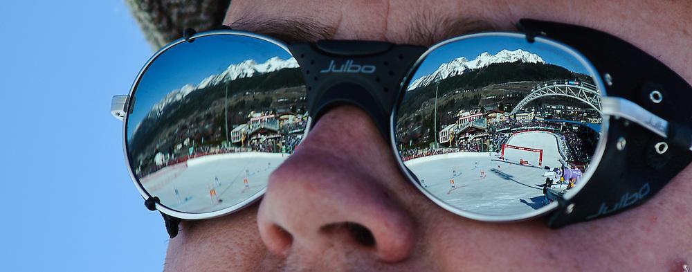 16.03.2012, Planai, Schladming, AUT, FIS Weltcup Ski Alpin, Teambewerb, im Bild ein Feature mit dem Zielstatdion und Skygate auf der Planai // during Nation Team Event of FIS Ski Alpine World Cup at 'Planai' course in Schladming, Austria on 2012/03/16. EXPA Pictures © 2012, PhotoCredit: EXPA/ Sandro Zangrando