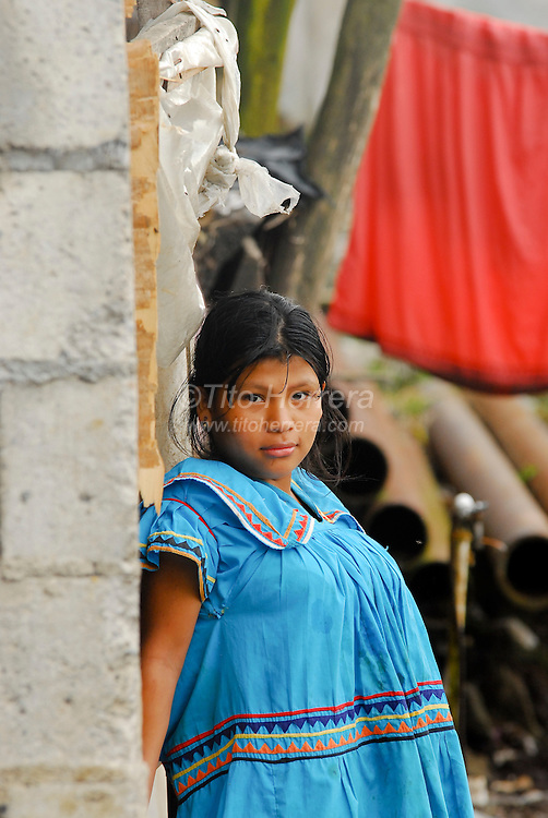 Town, of Boquete, Province of Chiriqui, country of Panama. The native indigenous Ngobe wearning their typical dress.