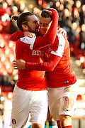 Charlton Athletic midfielder Ricky Holmes (11) celebrates his goal (score 1-0) during the EFL Sky Bet League 1 match between Charlton Athletic and Fleetwood Town at The Valley, London, England on 4 February 2017. Photo by Andy Walter.