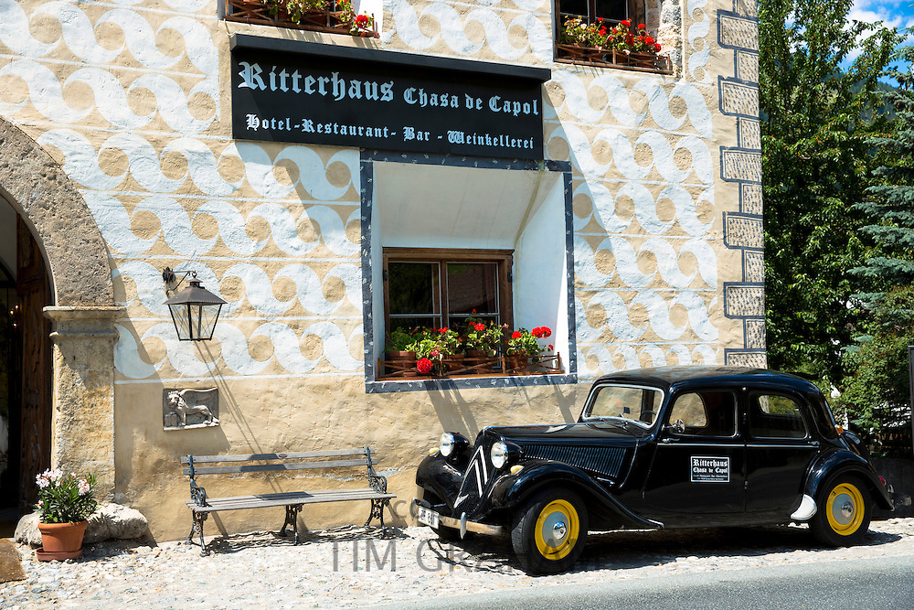 Classic old Citroen car at Ritterhaus Chasa de Capol Hotel, Restaurant and Bar  Santa Maria Val Mustair, Switzerland