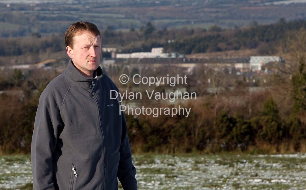 14/1/2010.Dan Brennan pictured on his farm in Dromgoole, Castlecomer, County Kilkenny with the Ormonde Brick plant in the background ..Picture Dylan Vaughan