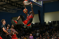 Fred Thomas of Bristol Flyers with a slam dunk - Photo mandatory by-line: Arron Gent/JMP - 07/12/2019 - BASKETBALL - Surrey Sports Park - Guildford, England - Surrey Scorchers v Bristol Flyers - British Basketball League Championship